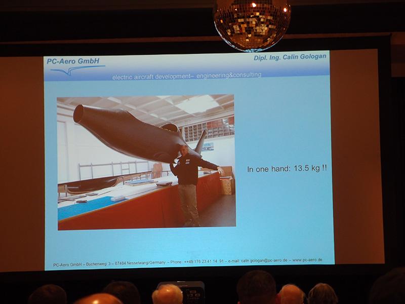 Calin Gologan showed picture of himself holding up 13.5 kilogram (29.7 pound) fuselage.