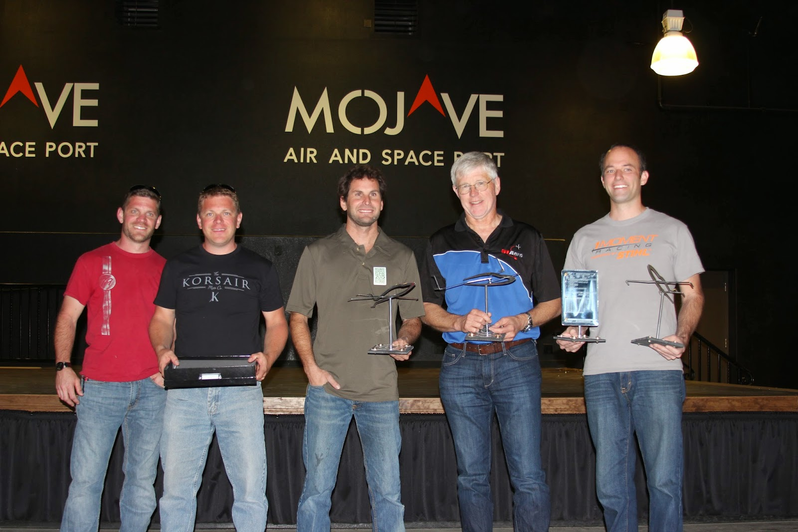 2015 MEFI Award winners (L to R): Josh and Justin Phillipson, Best Effort; Andy Chiavetta representing the Race 44 Team (Best Overall); Fred Roscher (Best Design), and Andrew Findlay (Best Test and Best Build). Photo: Whitney Brown.