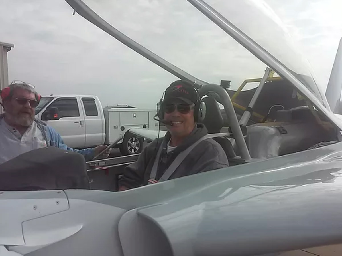 John Albritton after his First Flight of his Eze Jet.