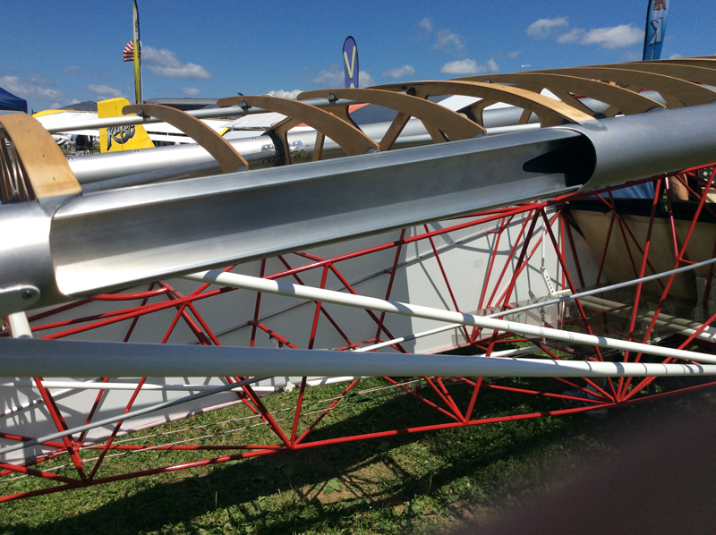 The wing leading edge tube has also been cutaway to show the strengthening insert. It is a 5' I-beam insert put in the load-bearing spars of all four wing spars.