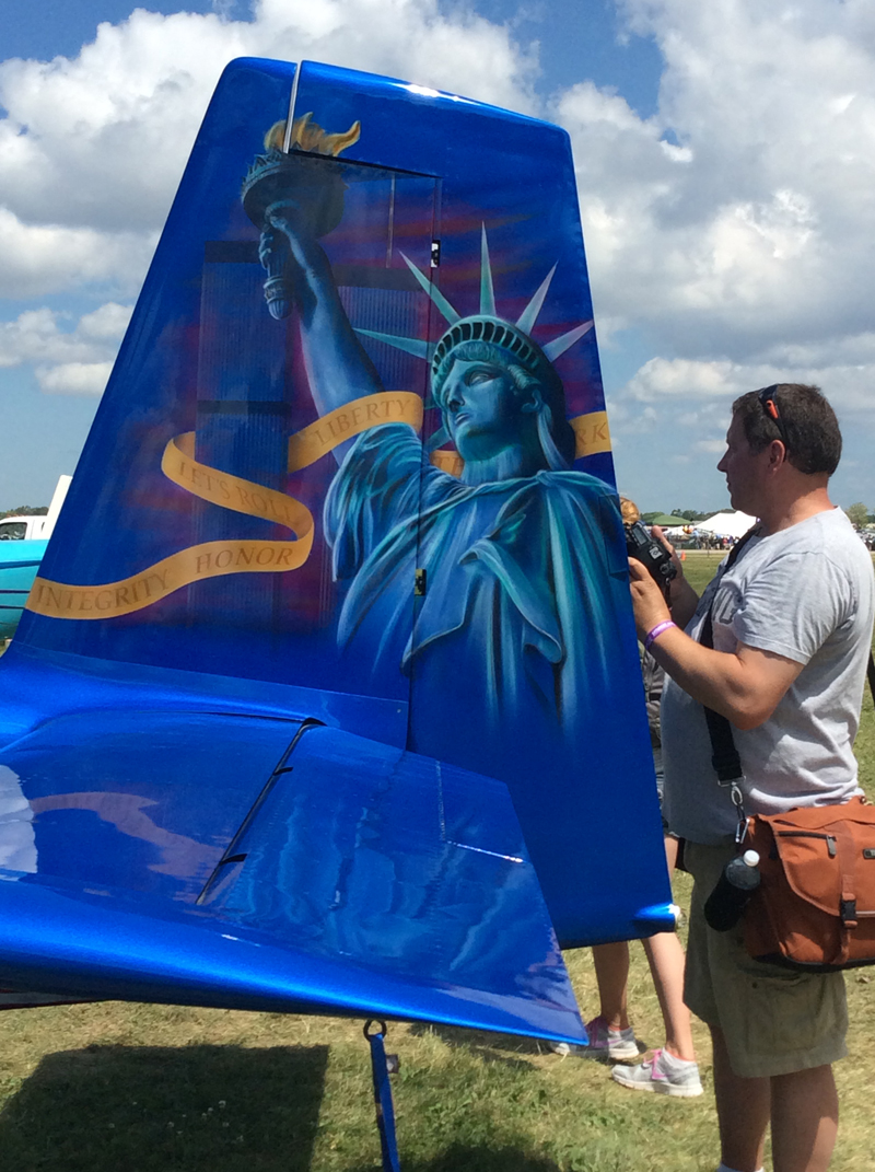 The tail art honors our American liberties and freedom.