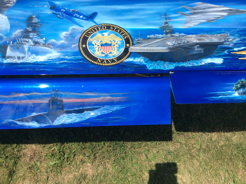 Liberty and its art work honoring all who served in the military is scheduled to appear in the Parade of Planes next October in Palm Springs, California.