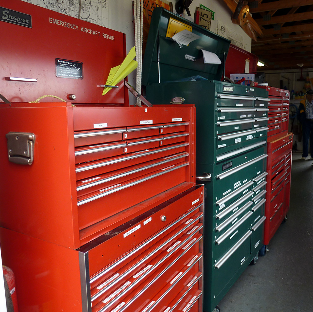 Snap-On donated the first toolbox with tools. Others have been accumulated throughout the years. Some volunteers bring their own tools. Other resources include a gas welder, drill press, compressor, bench grinder, and a library of repair manuals.