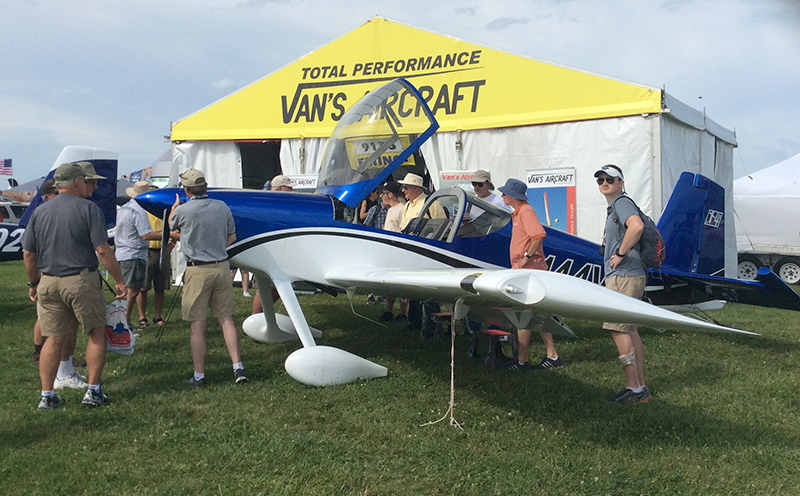 You can't get a clear picture of the brand new, tail wheel version of the RV-14 as the site is humming with interested potential builders.