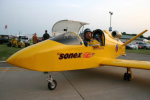 Renowned air show performer Bob Carlton in the SubSonex JSX-2 Personal Jet.