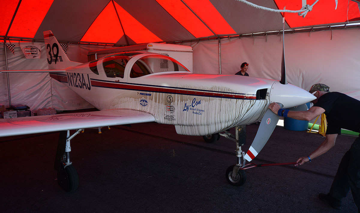 Jeff LaVelle's Glasair was worse for the wear after the Sport Gold. He nursed the broken racer to salvage second place.