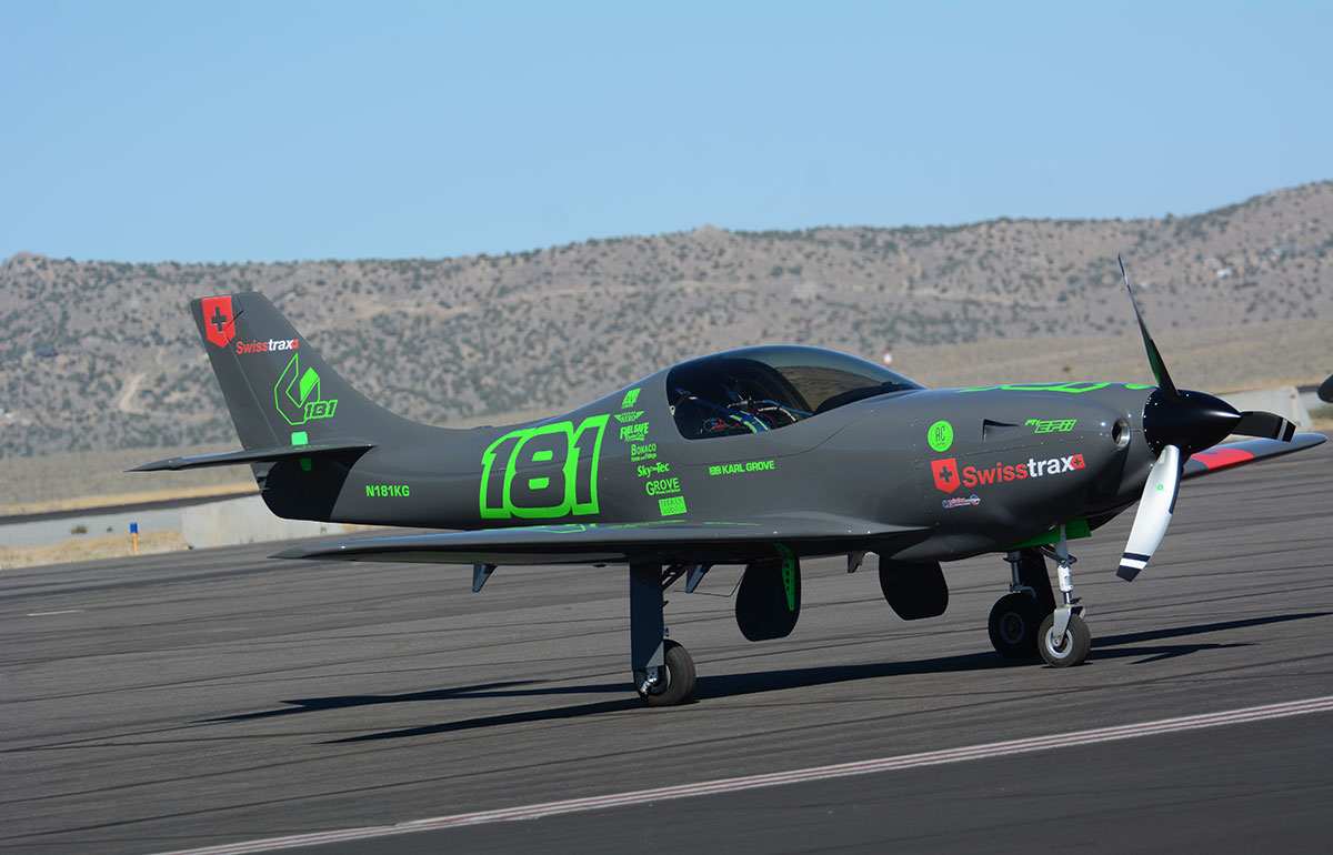 Karl Grove's Lancair has been in the works for two years. It is well-equipped with current technology and is slowly working through its development program.