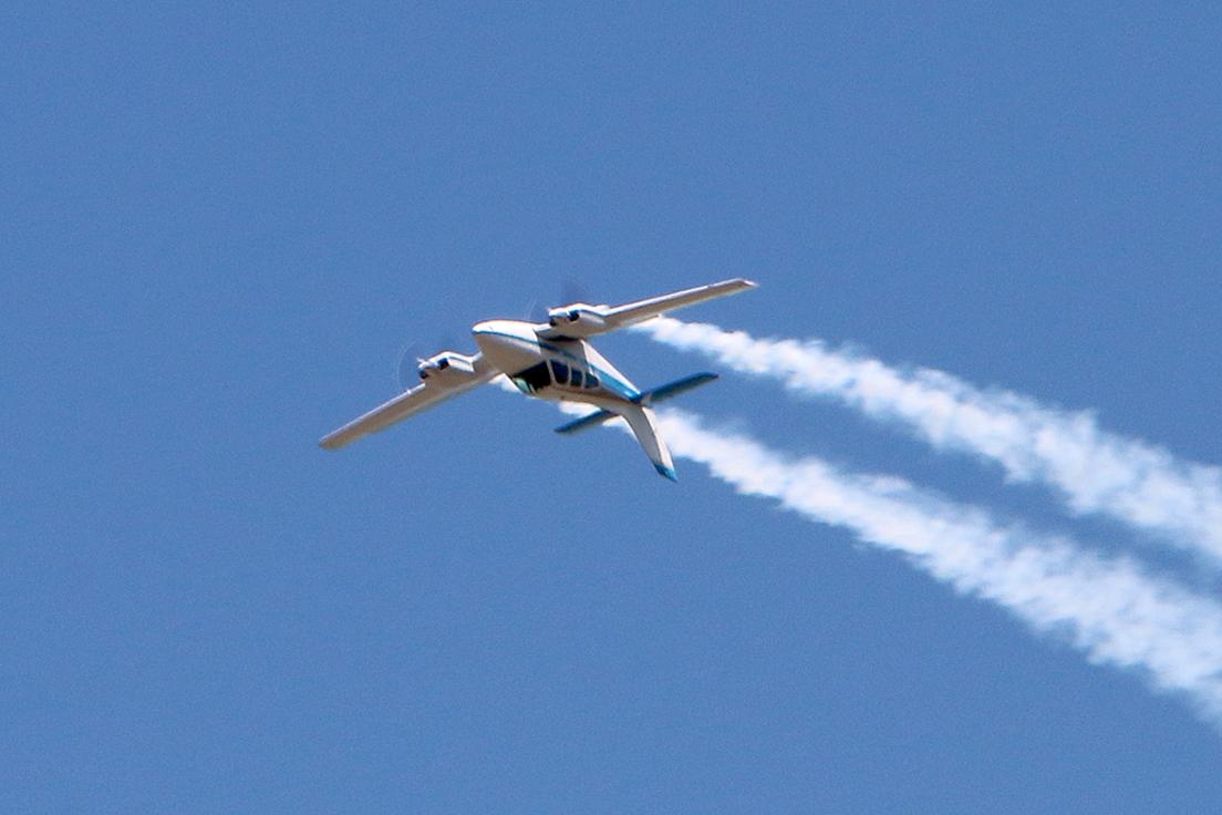 David Martin performs in his aerobatic Beech Baron