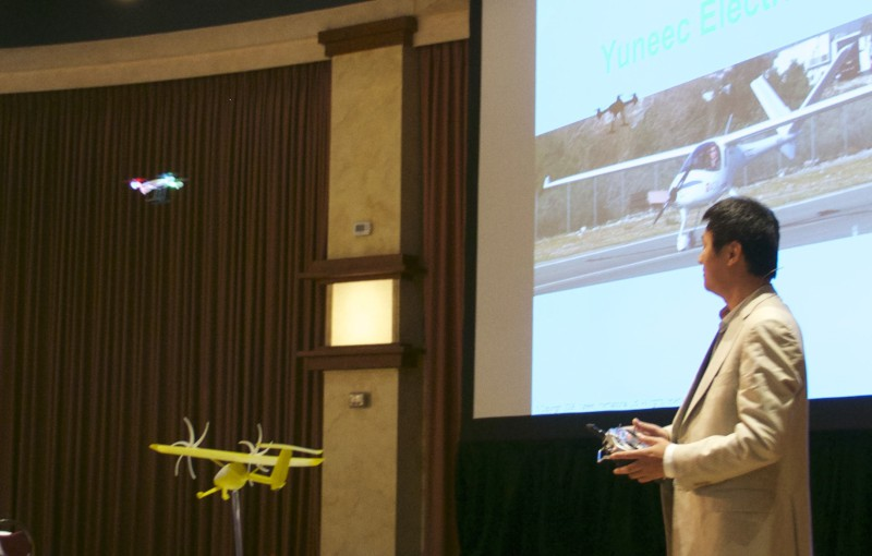 Yuneec CEO Tian Yu showed off drone, skateboard, ultralight airplane and LSA.