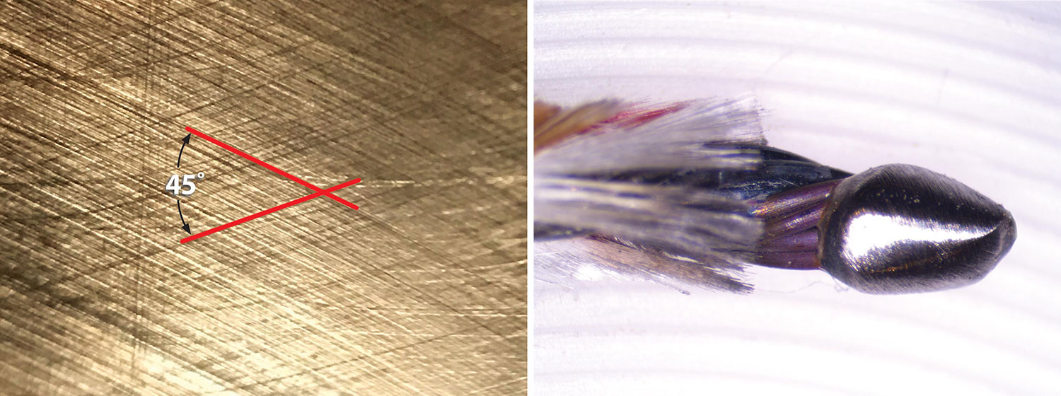 (Left) This close-up view of the cross-hatching pattern on a VW cylinder (disassembled) was taken with a smartphone with a clip-on lens. (Right) A close-up of the end of a thermocouple sensor.