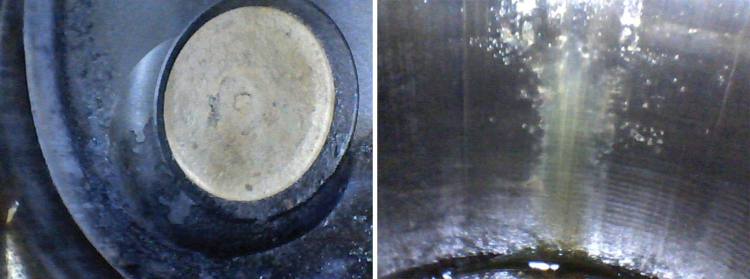 (Left) The borescope showed intake and exhaust valves (shown here) in near-perfect condition. Unfortunately, the cylinder walls did not look nearly as good. (Right) A borescope photo of one of the cylinders shows extensive rust and pitting damage that led to the eventual teardown decision. Hopefully a .010-inch overbore will clean this up enough to save the cylinder.