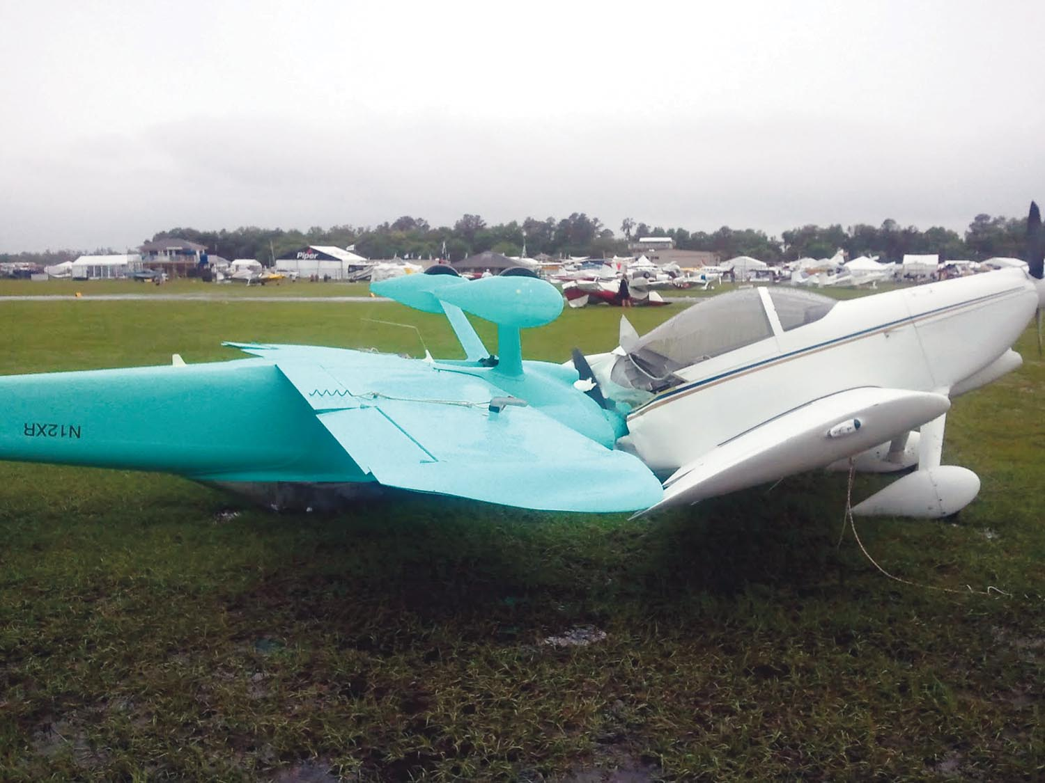 """Both of these Van's RVs were deemed """"total losses"""" after the infamous 2011 tornado ripped through the flight line at Sun 'n Fun."""