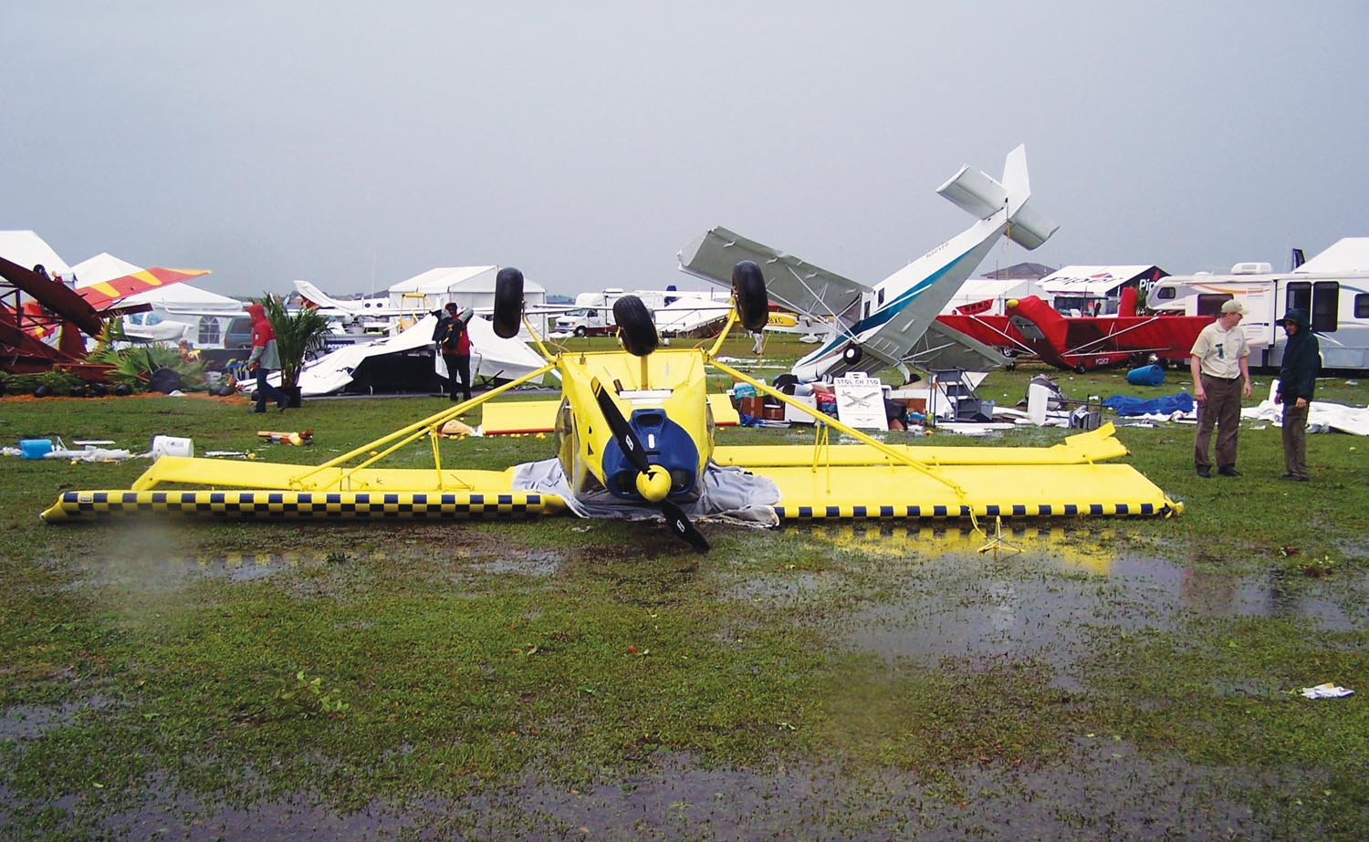 Dozens of airplanes, mostly experimentals, were seriously damaged when a tornado carved through the Sun 'n Fun homebuilt parking area in 2011. Thankfully, no one was seriously hurt.