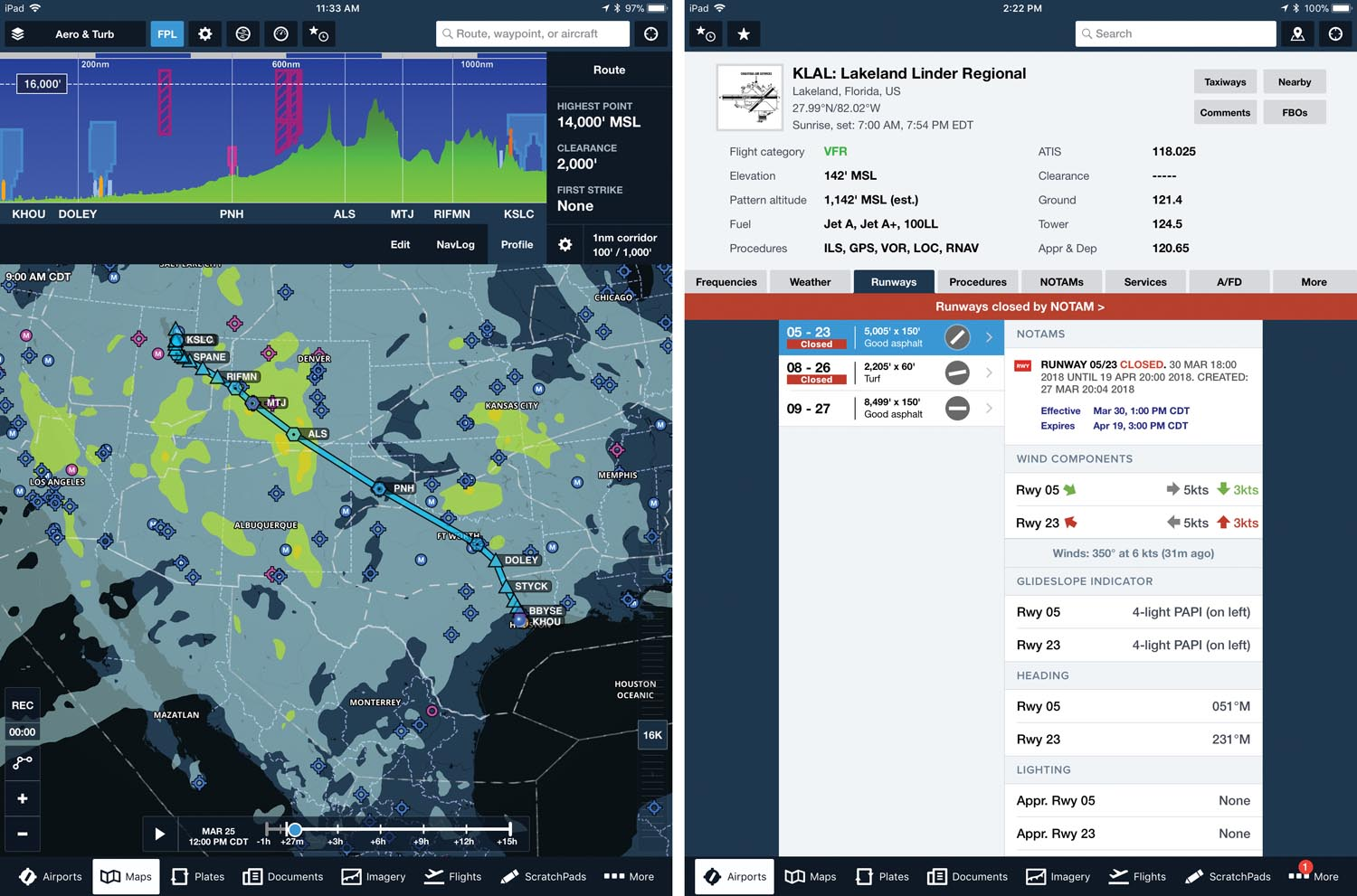 (Left) ForeFlight flight planning with turbulence layer. (Right) ForeFlight airport view for Lakeland, Florida, with runway closure warning.
