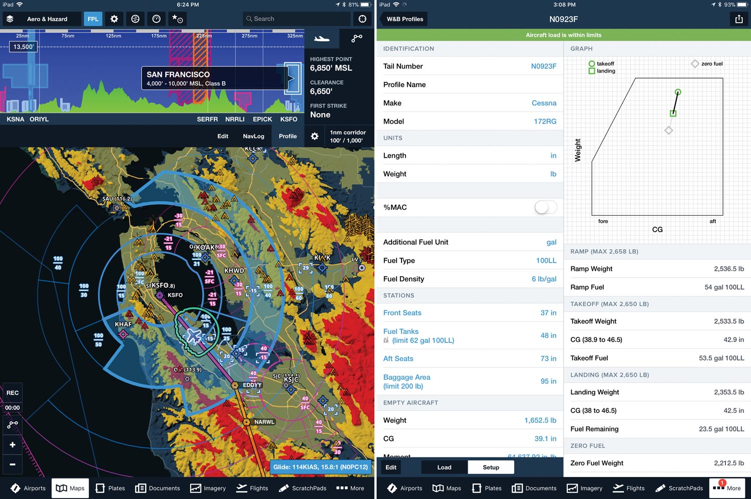 (Left) ForeFlight hazard advisor with profile view for San Francisco International Airport. (Right) ForeFlight also provides weight and balance information and alerts you if the aircraft is not within limits.