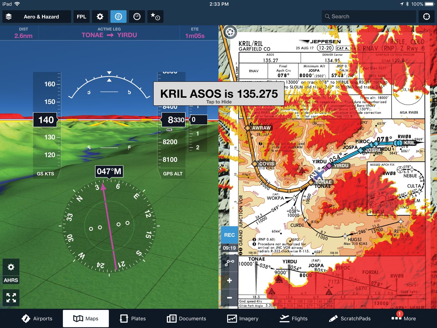 ForeFlight synthetic vision on the left with a Jeppesen approach plate on the right. The flight instruments are driven by an AHRS-capable device like Dynon's SkyView system.