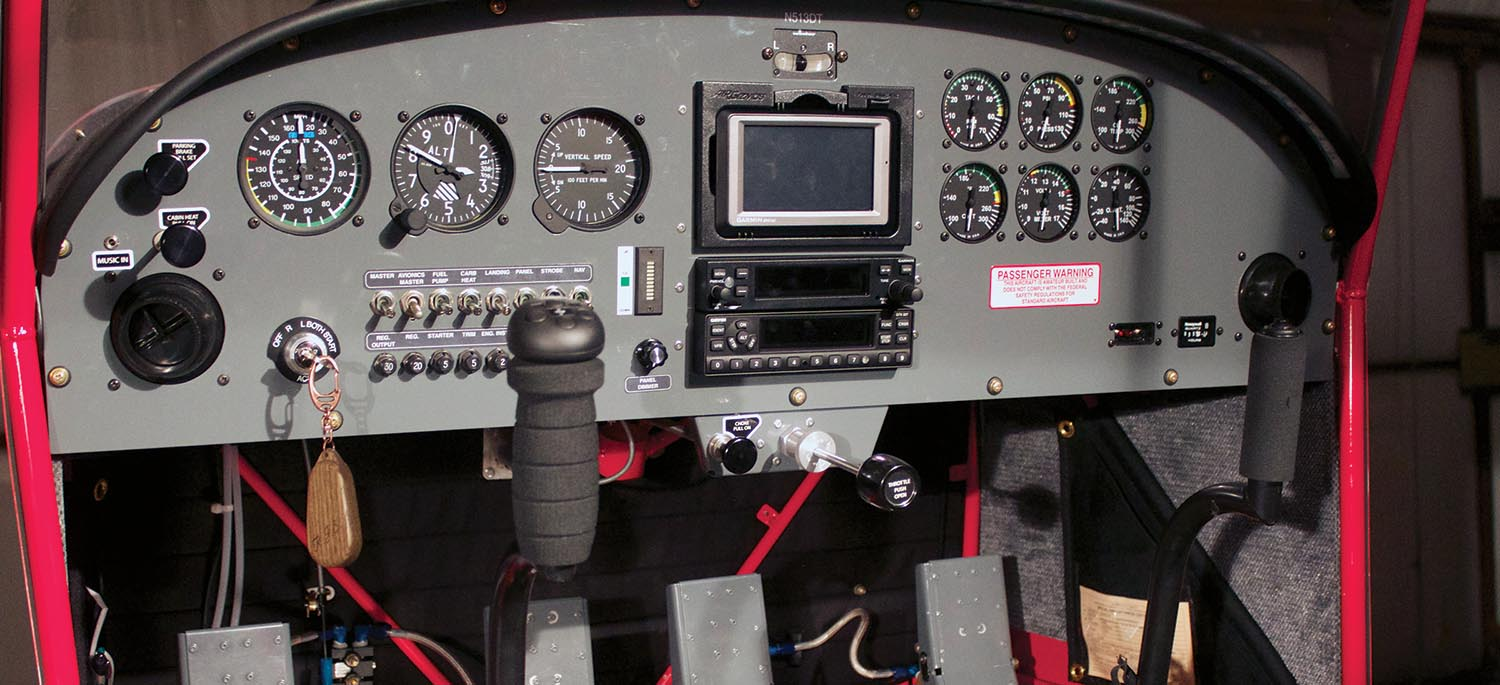 This is a low-cost VFR panel that Randy Schlitter made up for his S-20 demo plane. This shows that a fully functional VFR panel can be made for less that $20,000. What is left unexplained is why so few builders want such a basic panel. You are much more likely to find a new RANS with a panel that costs twice as much.