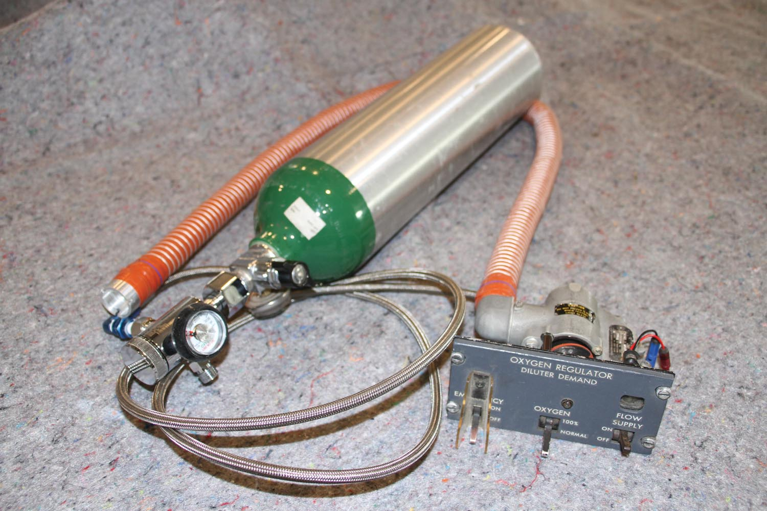 Here's an entire functional system with bottle, first stage, hoses, and the panel-mount regulator.