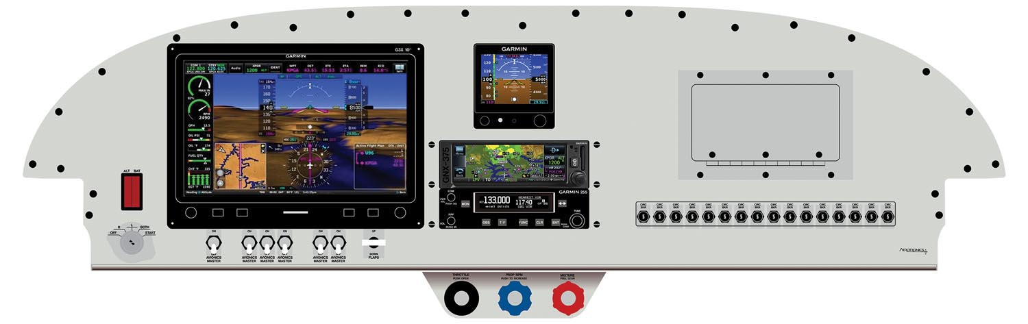 Tier 3 – This light-IFR panel includes the typical G3X display with remote transponder, a G5 backup EFIS, a single com radio with built-in intercom, a GNX 375 IFR-approved GPS receiver, and a two-axis autopilot. Many pilots prefer a separate control unit for the autopilot, but that adds about $1100. Aerotronics priced out this example at $35,500.