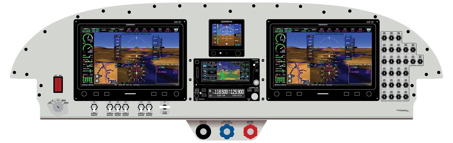 Tier 4 – This standard-IFR panel would meet the needs of most instrument-rated pilots with dual G3X screens, a GTN 650 nav/com/GPS, a second com radio, a G5 backup EFIS, transponder, and two-axis autopilot. This very nice panel will cost you around $43,000 in its pre-wired form.