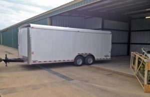 Getting the GlaStar parts to the hangar was the job of this 20-foot trailer. Careful packing meant all the airplane and shop components got to the hangar with little to no damage.