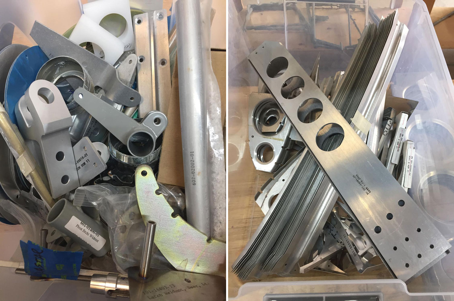 (Left) Parts to reorganize. There are always more than you think there will be. (Right) Organization by task—in this case parts for the right wing in a clear plastic tub are easy to find when the assembly manual calls for them.