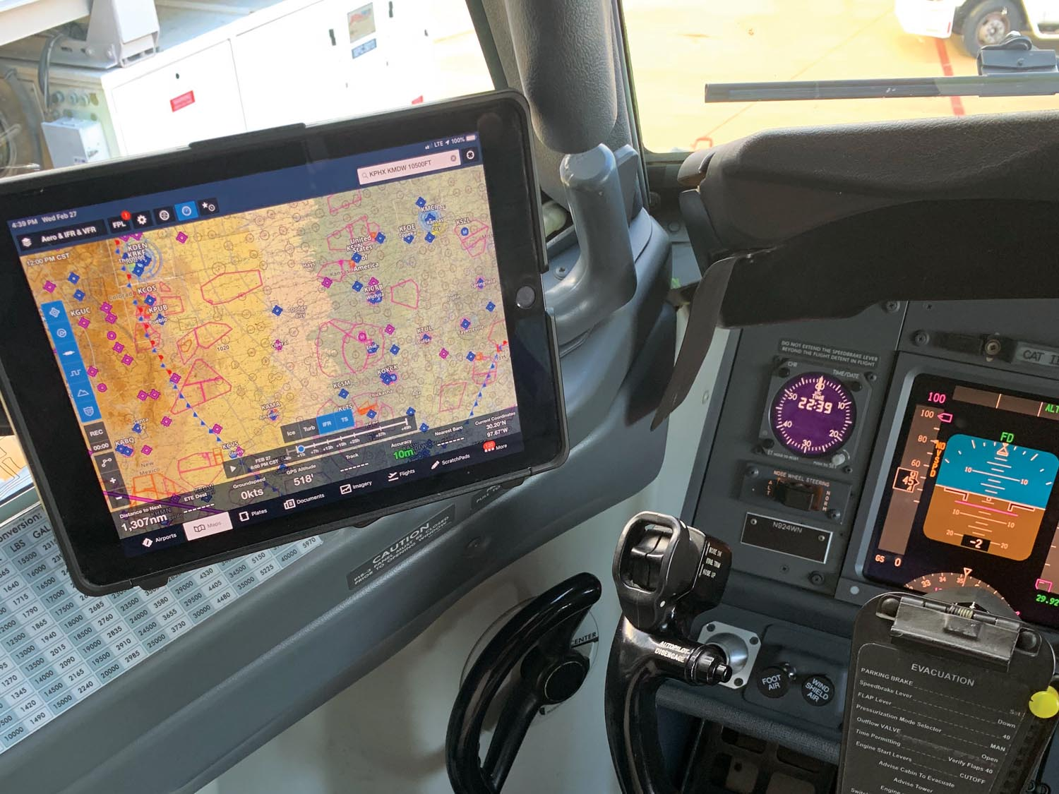 The iPad-based electronic flight bag (EFB) in a typical airline configuration.