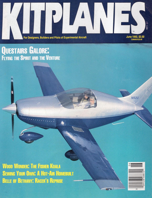 Kitplanes June 1992 cover